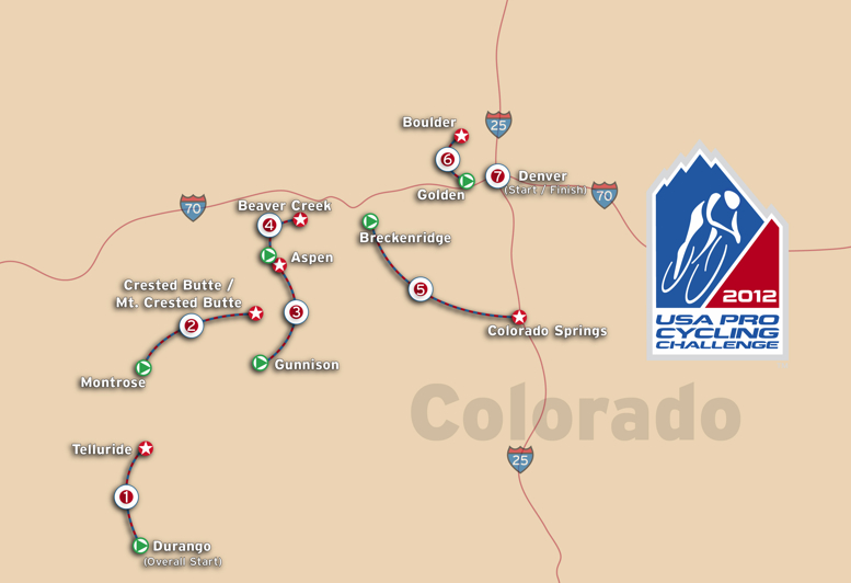 2012 USA Pro Cycling Challenge Route map